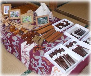 木工品の陳列