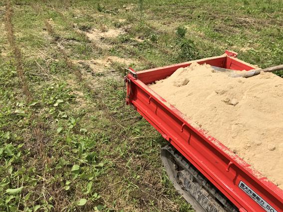 小麦跡地米ぬか散布